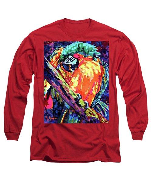 Preening Macaw Long Sleeve T-Shirt by Maria Arango