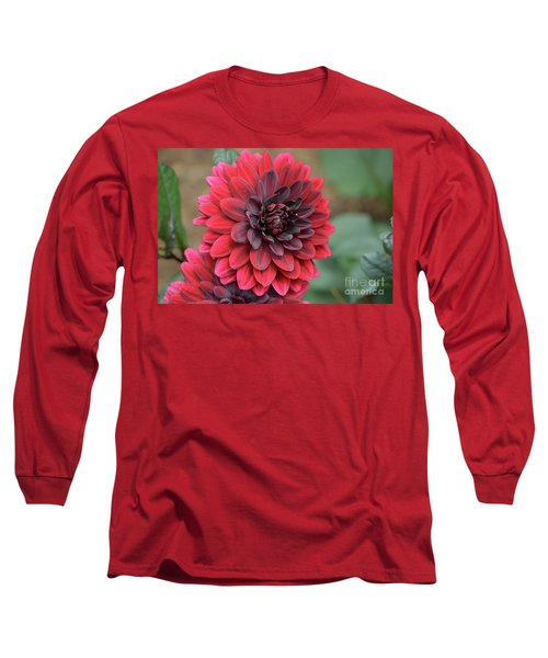 Pretty Blooming Red Dahlia Flower Blossom Long Sleeve T-Shirt
