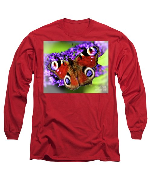Long Sleeve T-Shirt featuring the photograph Pristine Peacock by Baggieoldboy