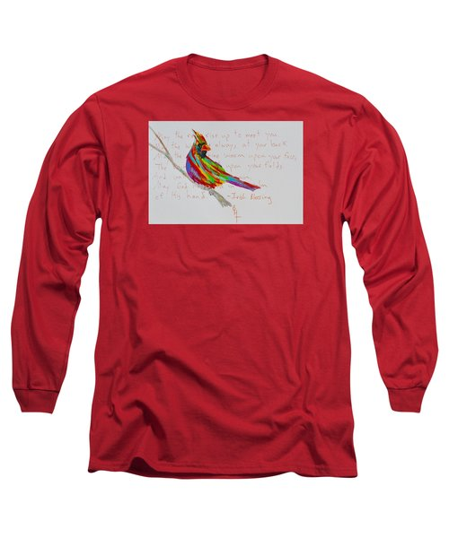 Proud Cardinal With Blessing Long Sleeve T-Shirt by Beverley Harper Tinsley