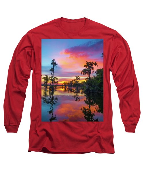 Psychedelic Swamp Long Sleeve T-Shirt by Kimo Fernandez