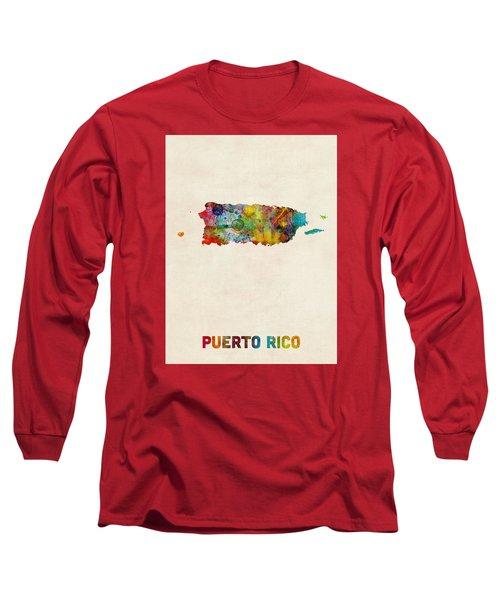 Puerto Rico Watercolor Map Long Sleeve T-Shirt by Michael Tompsett