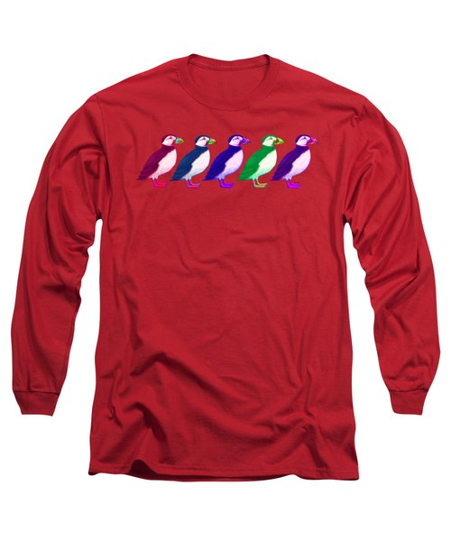 Puffins Apparel Design Long Sleeve T-Shirt by Teresa Ascone