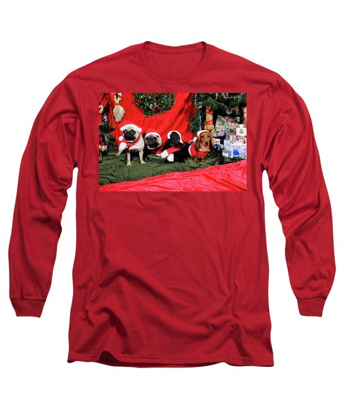 Pugs And Dachshounds Dressed As Father Christmas Long Sleeve T-Shirt