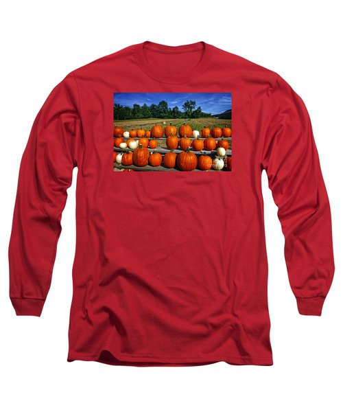 Pumpkins In A Row Long Sleeve T-Shirt by Dee Flouton