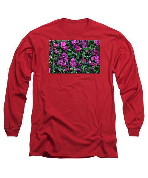 Purple Flowers Long Sleeve T-Shirt by Mikki Cucuzzo