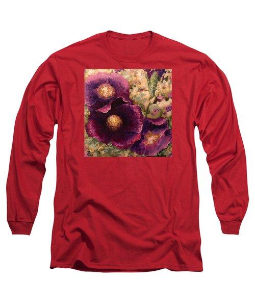 Purple Trio-flowers Long Sleeve T-Shirt by Vali Irina Ciobanu