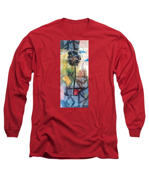 Long Sleeve T-Shirt featuring the mixed media Puzzled Floral by Cynthia Lagoudakis