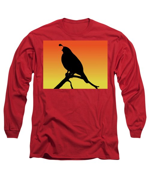 Quail Silhouette At Sunset Long Sleeve T-Shirt
