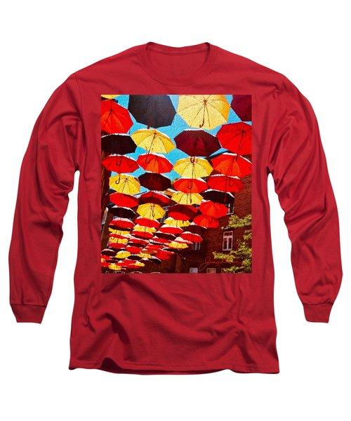Long Sleeve T-Shirt featuring the painting Raining Umbrellas by Joan Reese