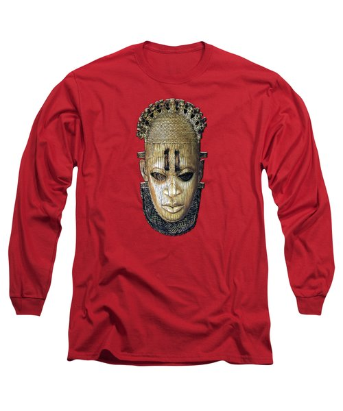 Queen Mother Idia - Ivory Hip Pendant Mask - Nigeria - Edo Peoples - Court Of Benin On Red Leather Long Sleeve T-Shirt