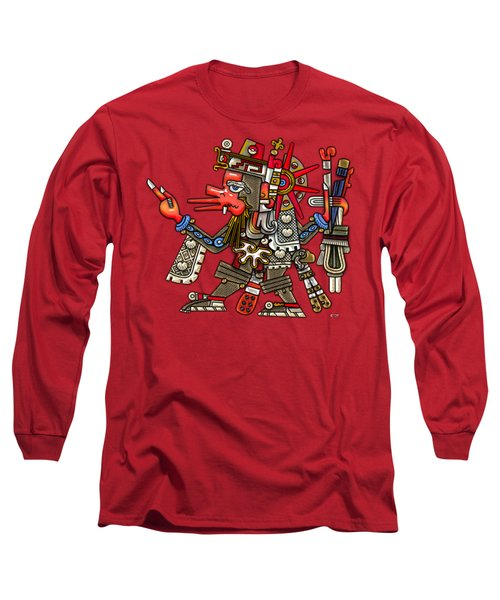 Quetzalcoatl In Human Warrior Form - Codex Borgia Long Sleeve T-Shirt by Serge Averbukh