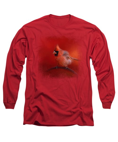 Radiant Red Bird Long Sleeve T-Shirt by Jai Johnson