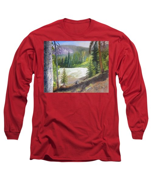 Long Sleeve T-Shirt featuring the painting Raging River by Sherril Porter