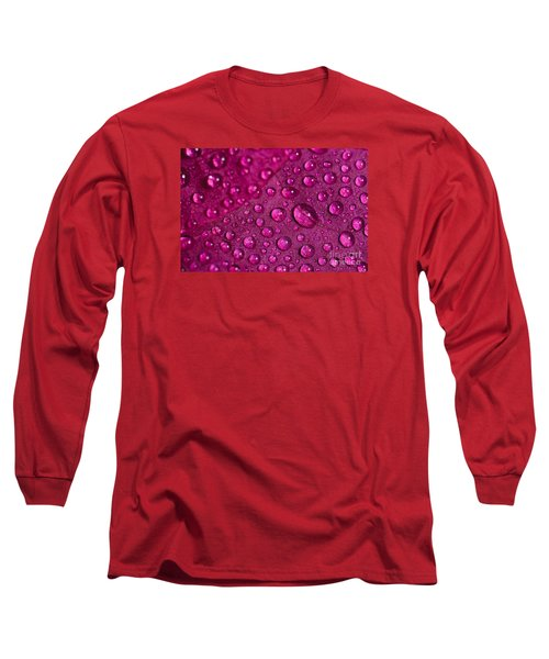 Rain And Bougainvillea Petals Long Sleeve T-Shirt by Angelo DeVal
