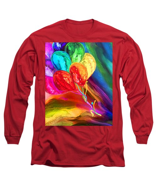 Long Sleeve T-Shirt featuring the mixed media Rainbow Chaser by Carol Cavalaris