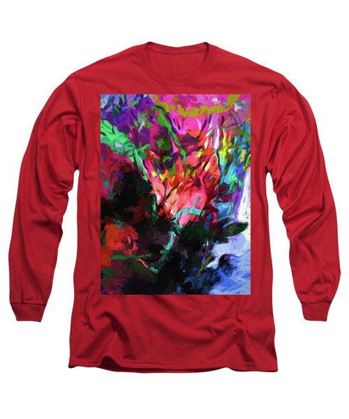 Rainbow Flower Rhapsody Red Turquoise Blue Long Sleeve T-Shirt