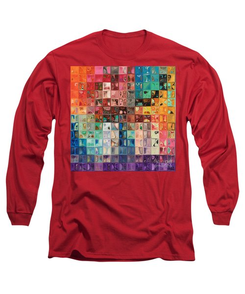 Rainbow Refractions. Modern Mosaic Tile Art Painting Long Sleeve T-Shirt