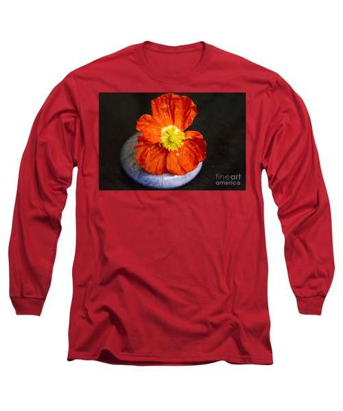 Long Sleeve T-Shirt featuring the photograph Raindrops On Poppy  by Jeanette French