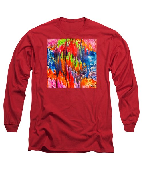 Long Sleeve T-Shirt featuring the painting Raindrops On The Window by Dragica  Micki Fortuna
