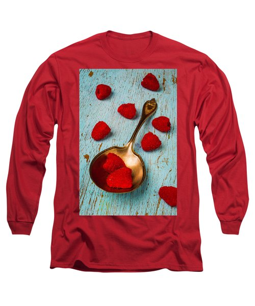 Raspberries With Antique Spoon Long Sleeve T-Shirt by Garry Gay