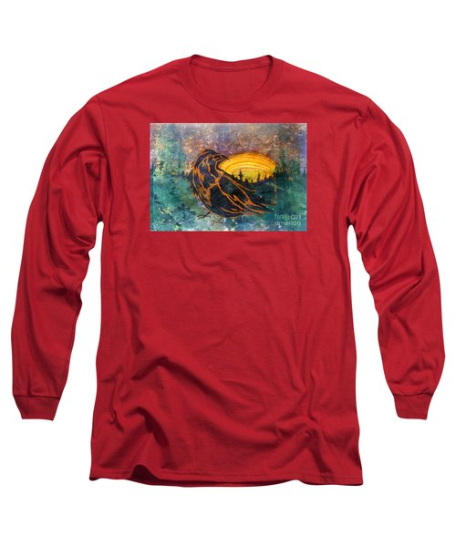 Long Sleeve T-Shirt featuring the mixed media Raven Of The Woods by Cynthia Lagoudakis