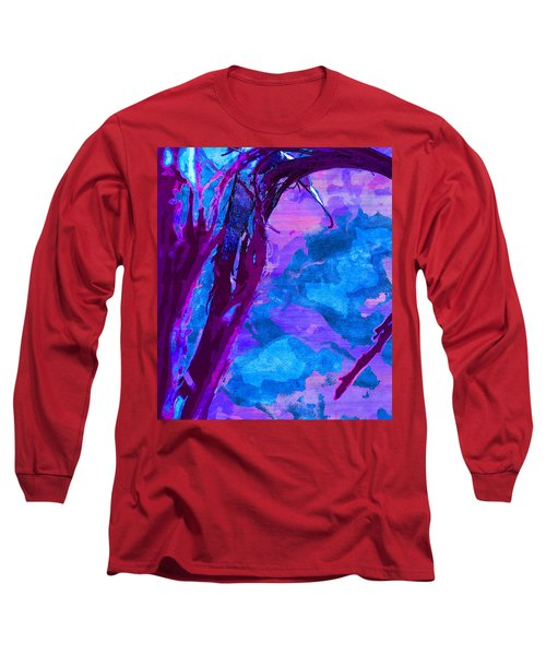 Reaching Into Blue Long Sleeve T-Shirt by Samantha Thome