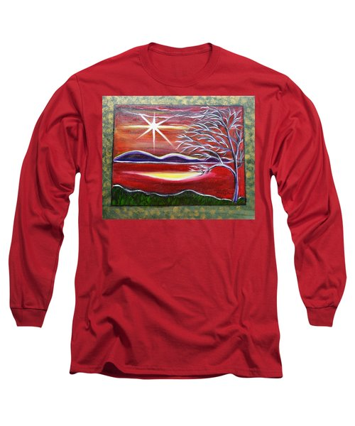 Red Abstract Landscape With Gold Embossed Sides Long Sleeve T-Shirt