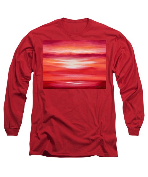 Red Abstract Sunset Long Sleeve T-Shirt