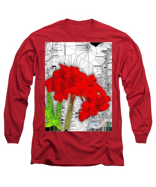 Red Amaryllis Stained Glass  Long Sleeve T-Shirt