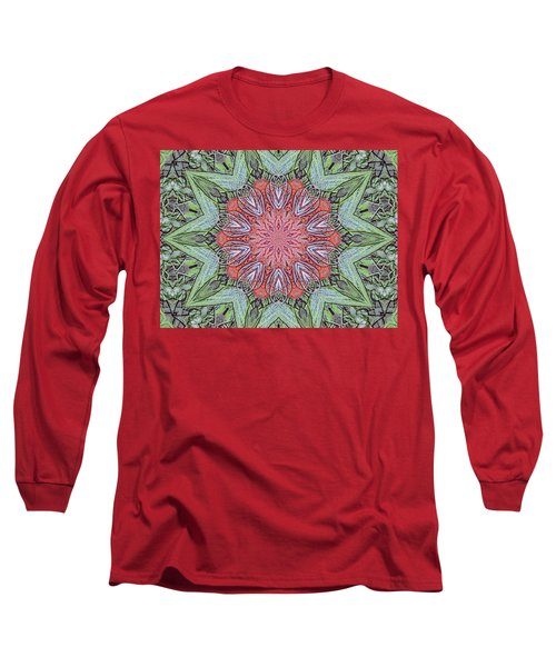 Red Amaryllis Trio Kaleidoscope Long Sleeve T-Shirt