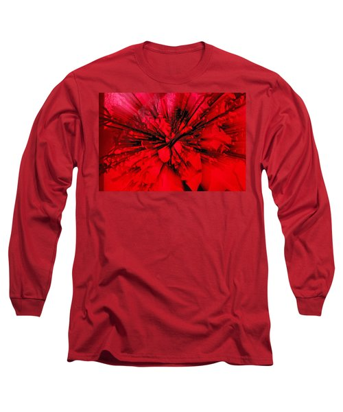 Long Sleeve T-Shirt featuring the photograph Red And Black Explosion by Susan Capuano