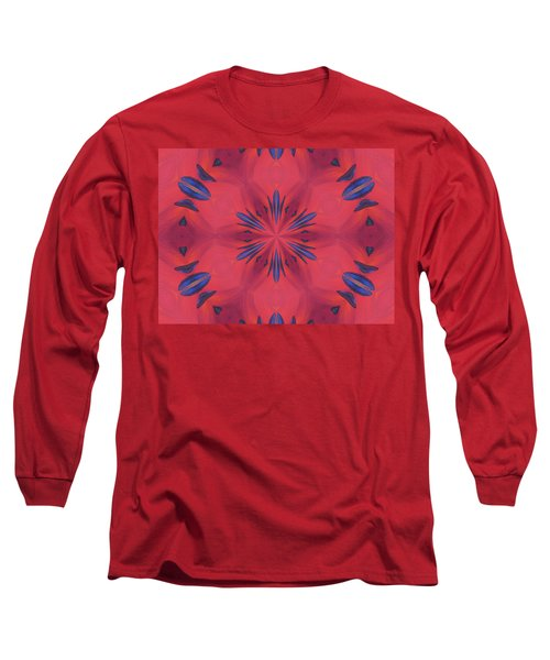 Long Sleeve T-Shirt featuring the mixed media Red And Blue by Elizabeth Lock
