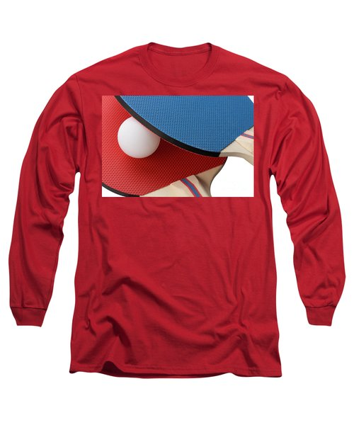 Red And Blue Ping Pong Paddles - Closeup Long Sleeve T-Shirt