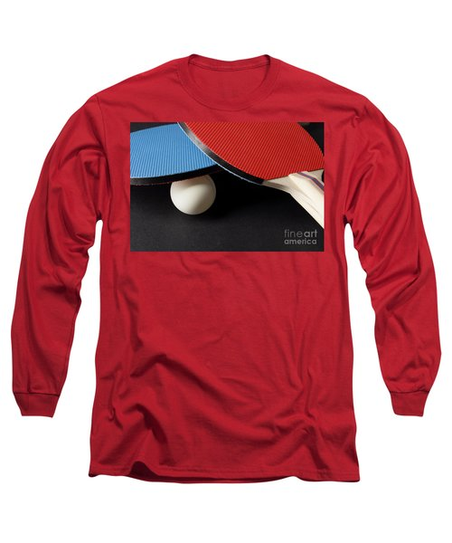 Red And Blue Ping Pong Paddles - Closeup On Black Long Sleeve T-Shirt