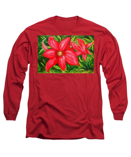 Red And Green Long Sleeve T-Shirt by J R Seymour
