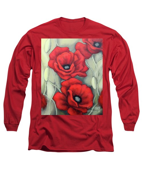 Long Sleeve T-Shirt featuring the painting Red And Grey by Inese Poga