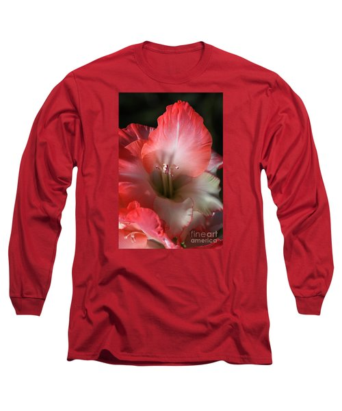Red And White Gladiolus Flower Long Sleeve T-Shirt by Joy Watson