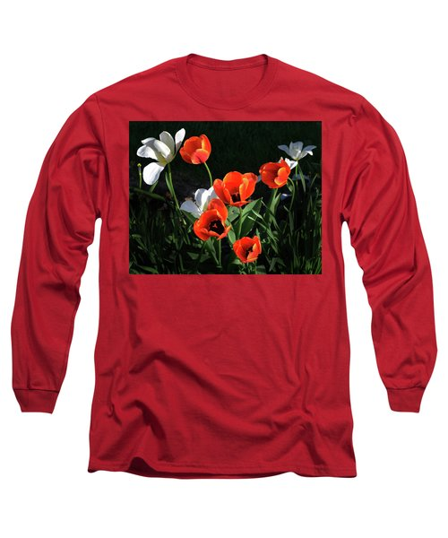 Red And White Tulips Long Sleeve T-Shirt by Kathleen Stephens
