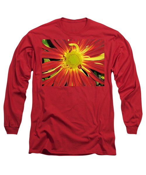 Red And Yellow Flower Long Sleeve T-Shirt by Barbara Yearty