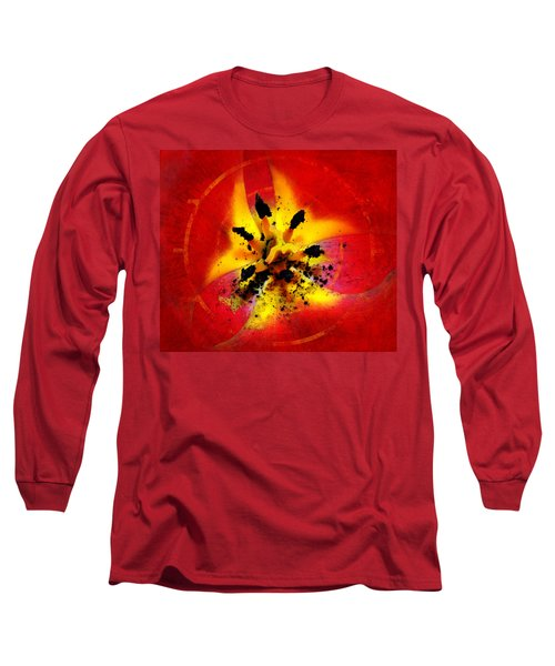 Red And Yellow Flower Long Sleeve T-Shirt by Judi Saunders