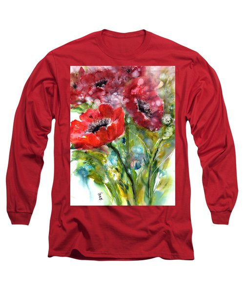 Red Anemone Flowers Long Sleeve T-Shirt
