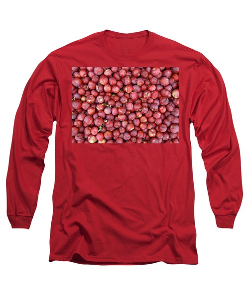Red Apples Background Long Sleeve T-Shirt by GoodMood Art