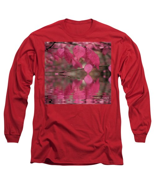 Red Autumn Leaf Reflections Long Sleeve T-Shirt by Judy Palkimas