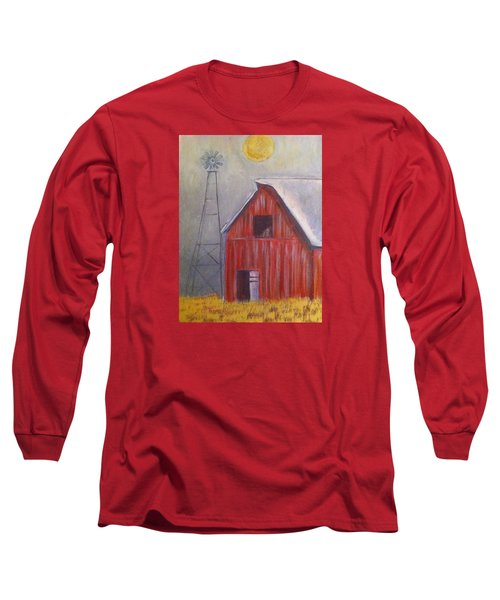 Red Barn With Windmill Long Sleeve T-Shirt by Belinda Lawson