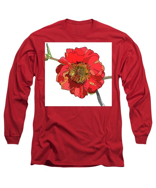 Red Blossom Long Sleeve T-Shirt by Jamie Downs