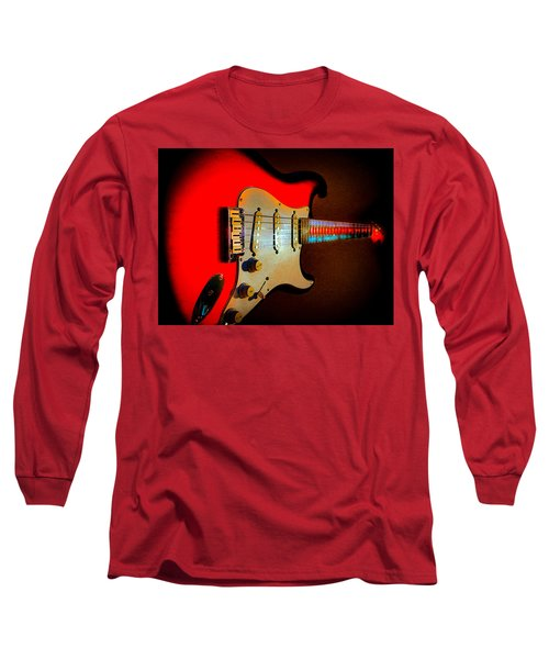 Long Sleeve T-Shirt featuring the digital art Red Burst Stratocaster Glow Neck Series by Guitar Wacky