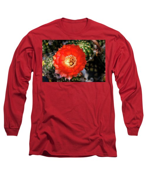 Red Cactus Bloom Long Sleeve T-Shirt