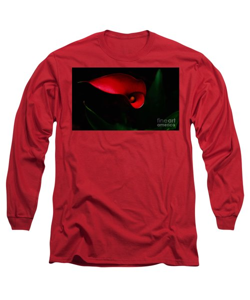 Red Calla Lilly Long Sleeve T-Shirt by Debra Crank