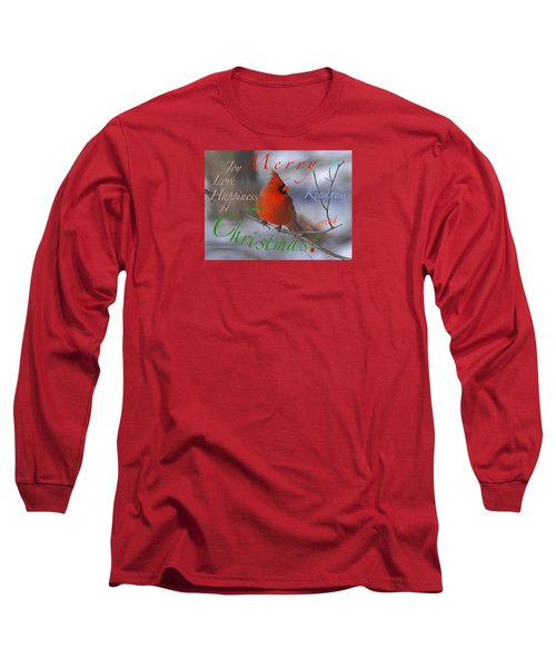 Long Sleeve T-Shirt featuring the mixed media Red Cardinal Christmas by Mary Armstrong
